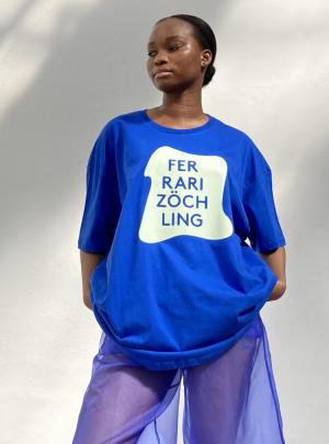 blue Oversized Shirt w glowinthedark print